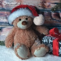 Servietten Christmas Teddy with Present