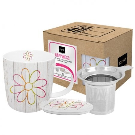 Teetassen Set Happiness Flower mit Sieb