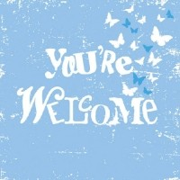 "servietten ""youre welcomme"" blue"
